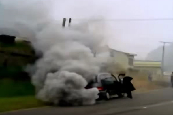 Smoke running engine